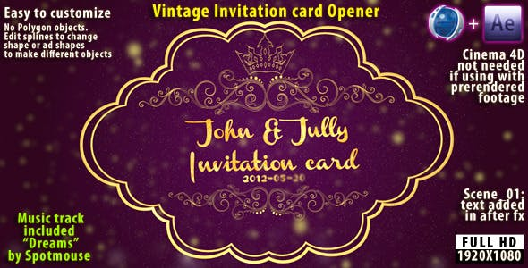 After Effects Projects Download Vintage Invitation Card