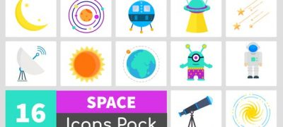 16 Animated Space Icons Pack
