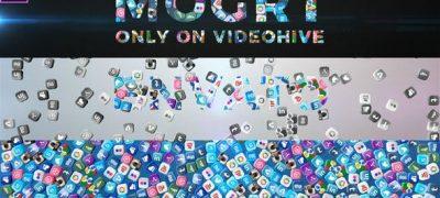 Falling Social Icons - Title Reveal (Mogrt)