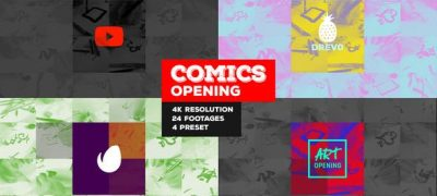 Fast Comics Opening/ Art Intro/ Kids Cartoon Tv Broadcast Intro/ Teens Youtube Channel/ Family Tales