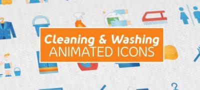 Cleaning & Washing Modern Flat Animated Icons